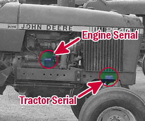 Deere 2640 tractor and engine serial numbers