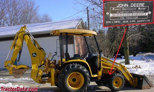 John Deere 110TLB serial number location