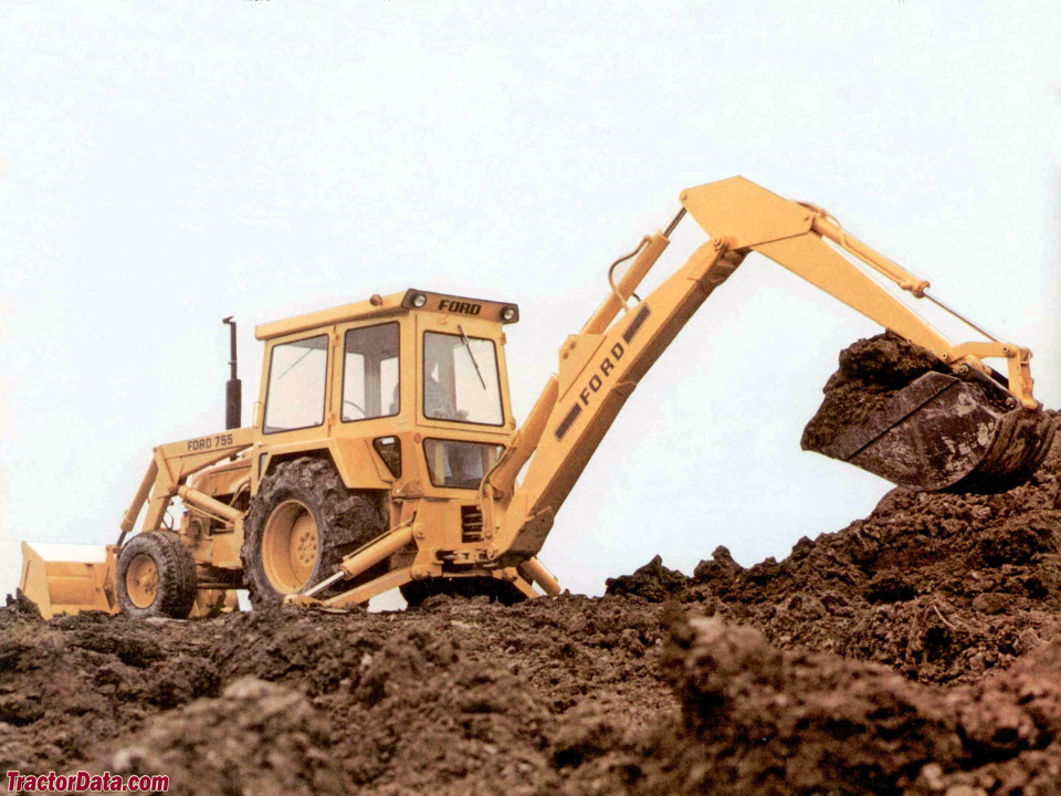 Ford 755 backhoe with cab. Marketing photo.