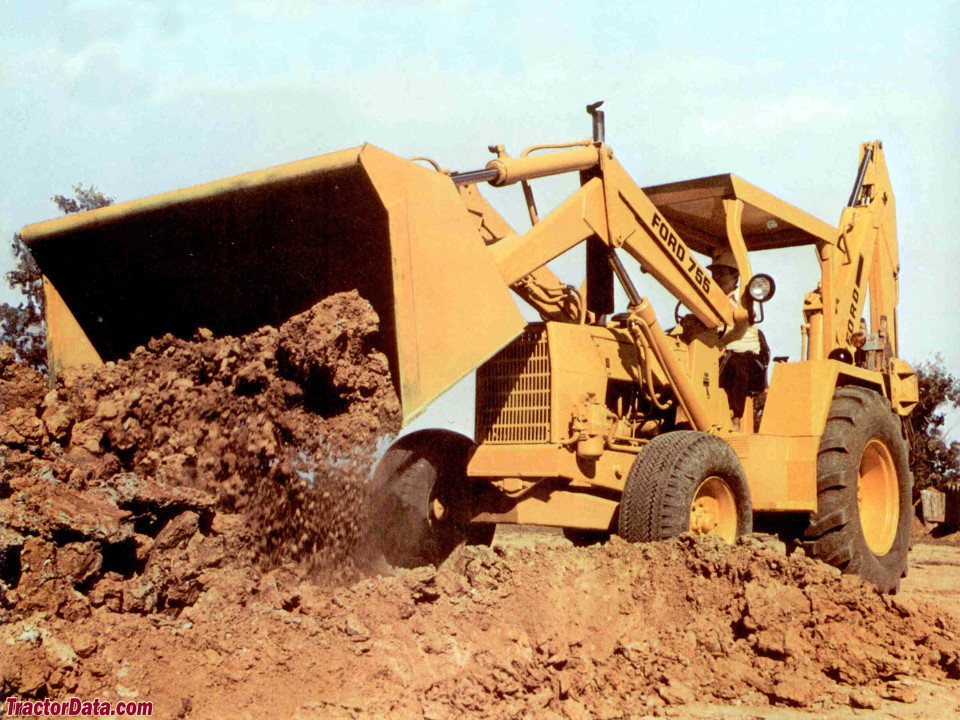 Model 755 Ford backhoe with ROPS canopy. Marketing photo.
