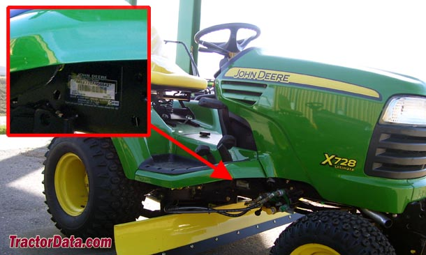 John Deere X720 serial number location