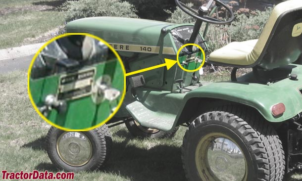 John Deere 140 Serial Number Location