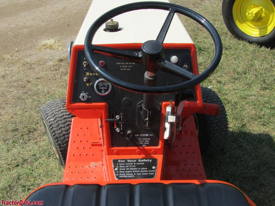 Allis-Chalmers 416 hydrostatic operator station and controls.
