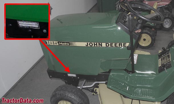 John Deere 185 serial number location
