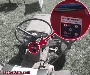 Wheel Horse 1054 serial number location