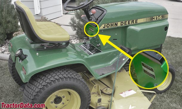 John Deere 314 serial number location