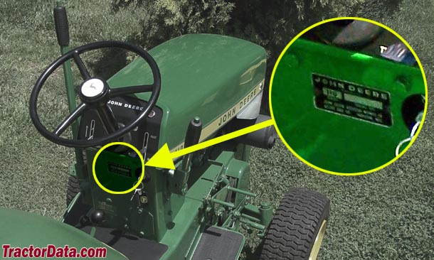 John Deere 110 serial number location