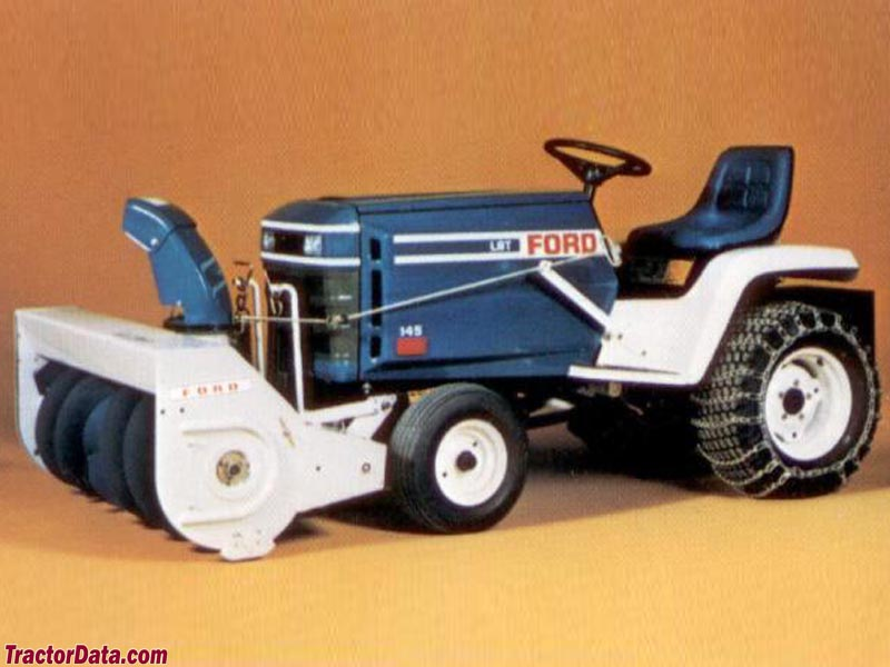 Ford LGT-145 with snowblower mounted