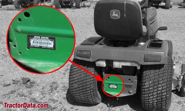 John Deere GX345 serial number location