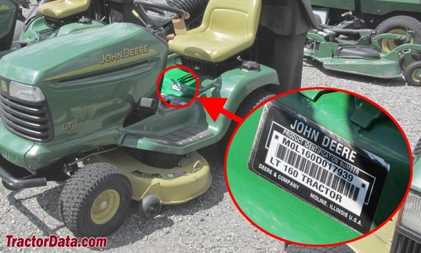 John Deere LT160 serial number location