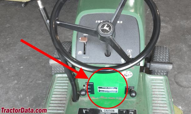 John Deere 108 serial number location