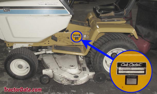 Cub Cadet 1204 serial number location