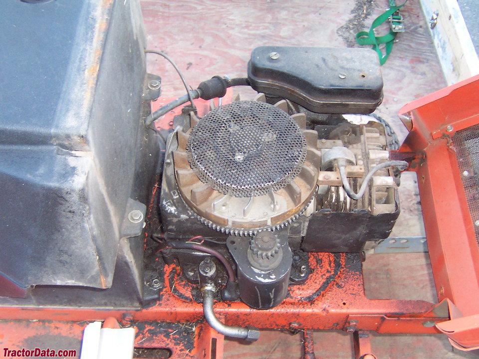 Allis-Chalmers 608LTD hood open, showing engine.