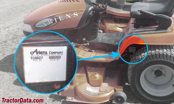 Ariens High Sierra 2248 934027 serial number location