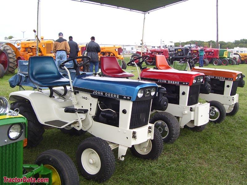 Restored John Deere Patio Series Tractors.