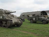 Vintage military equipment, including a M4 tank