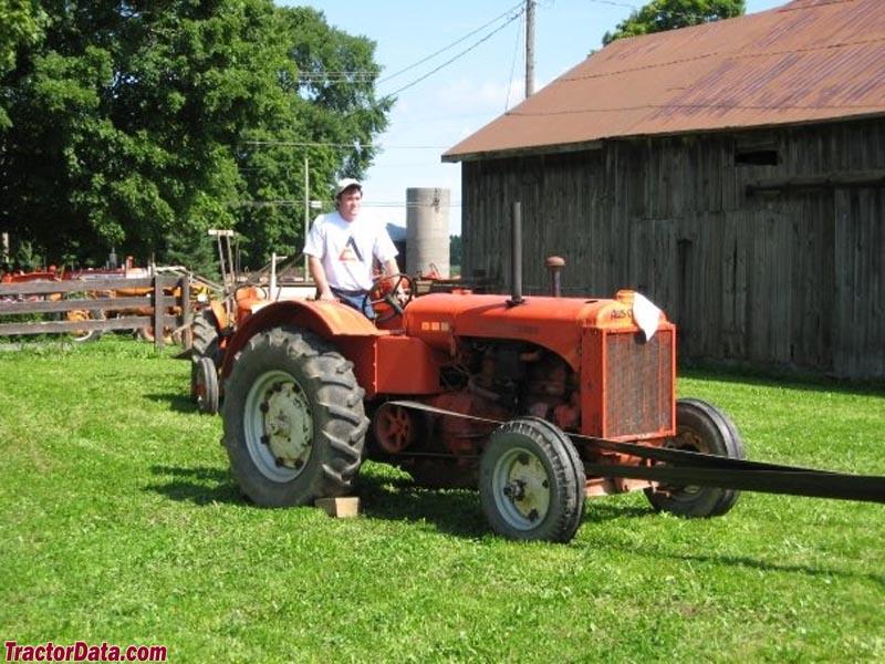 1939 Allis-Chalmers model A running a threshing machine.