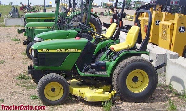 John Deere 4100 tractor with mid-mount mower