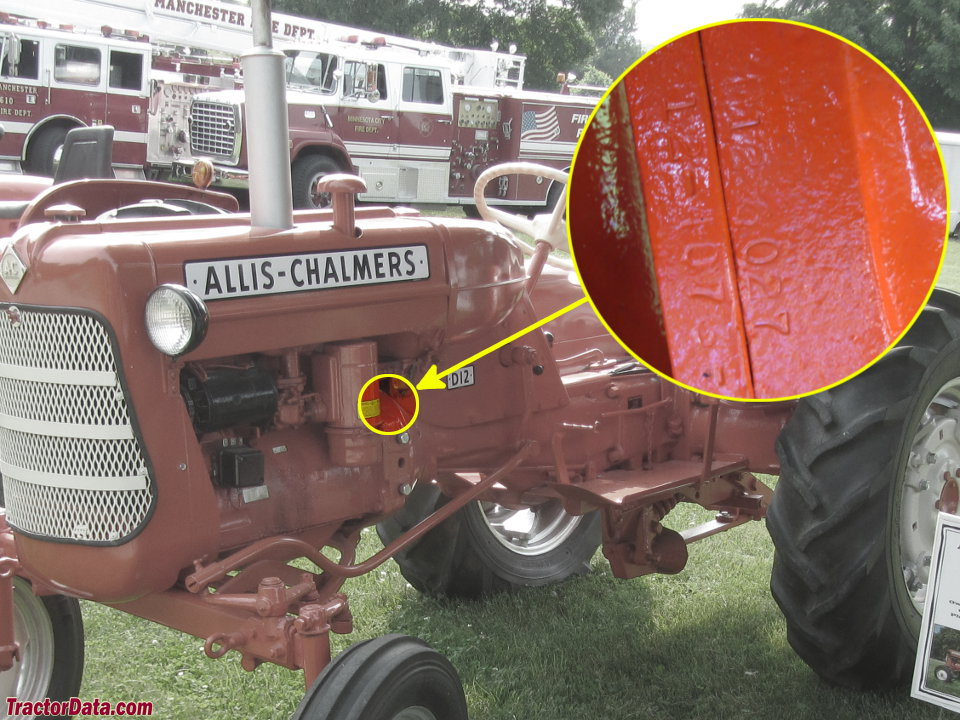 Serial X on Allis Chalmers Rear Engine Tractor