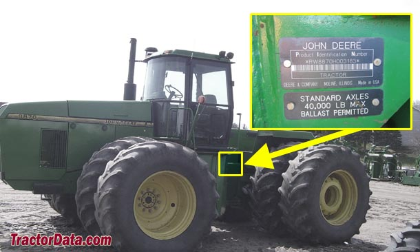 John Deere 8870 serial number location