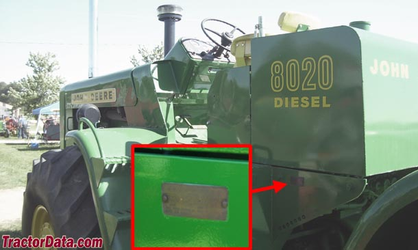 John Deere 8020 serial number location