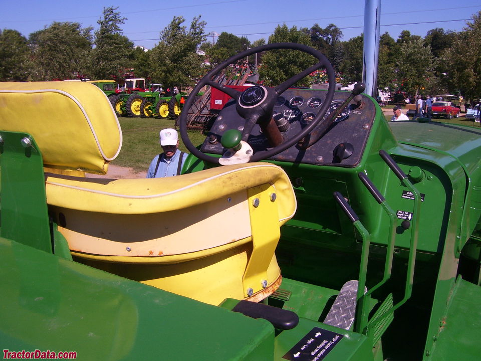 John Deere 8020 operator station and controls.