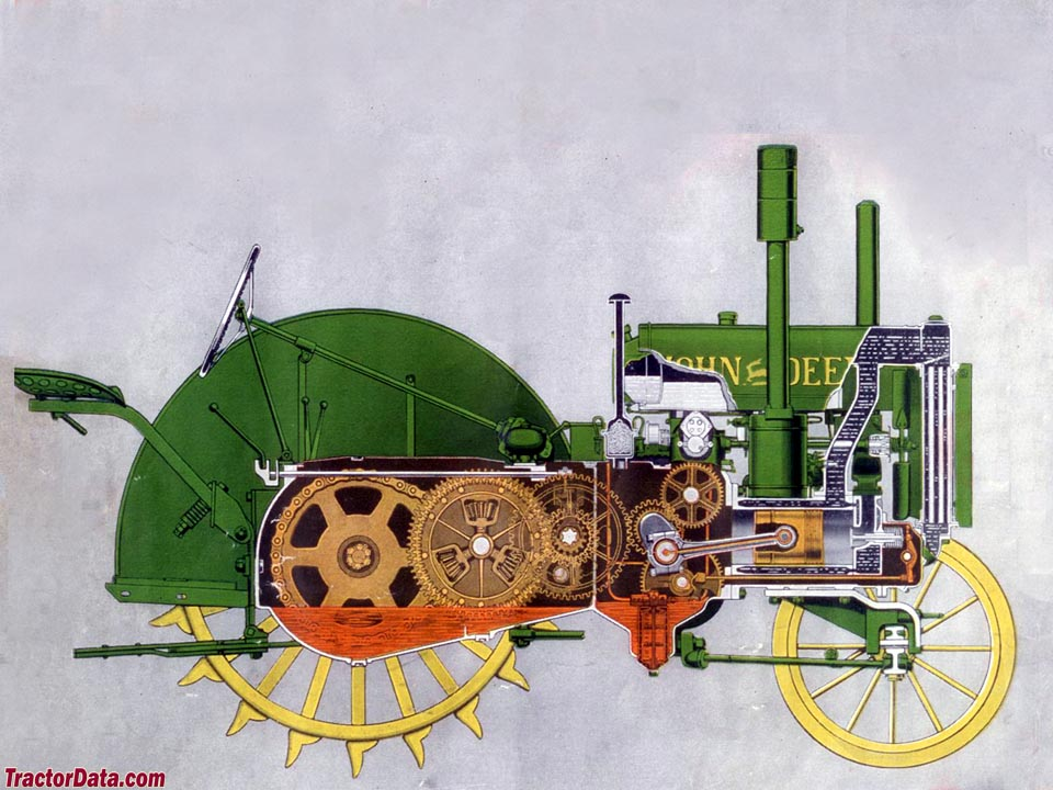 Side-view of John Deere D engine and transmission
