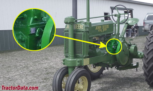 John Deere A serial number location