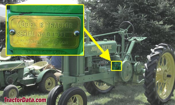 John Deere B serial number location