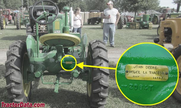 John Deere LA serial number location