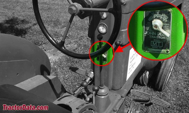 John Deere MT serial number location
