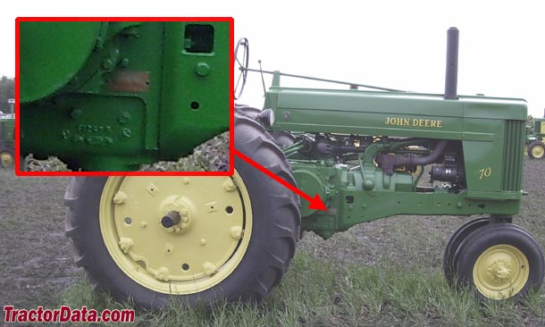 John Deere 70 serial number location