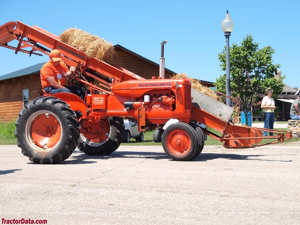 Allis-Chalmers C with mounted bale loader.
