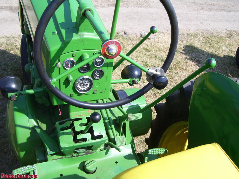 John Deere 620 operator station and controls.