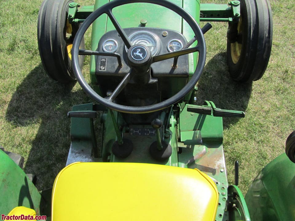 John Deere 1020 operator station and controls.