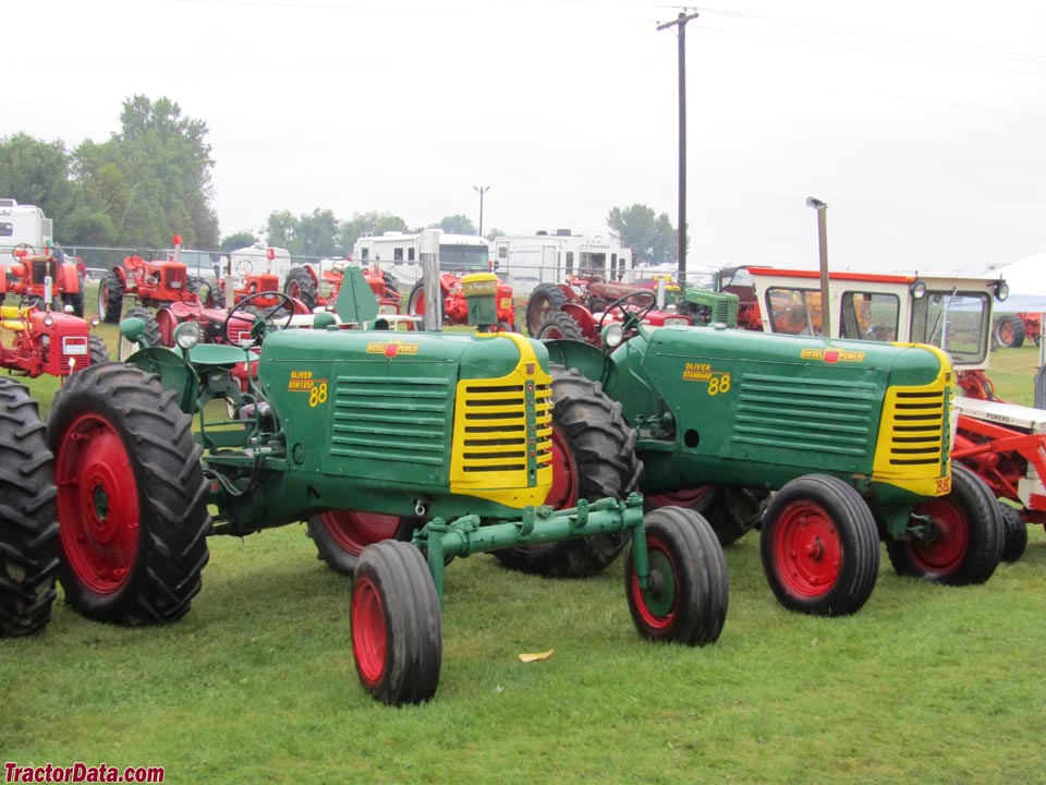 Row-crop Oliver 88 with wide front and Oliver 88 standard.
