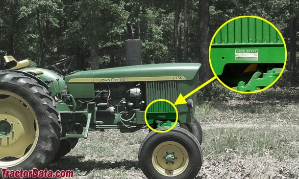 John Deere 2130 serial number location
