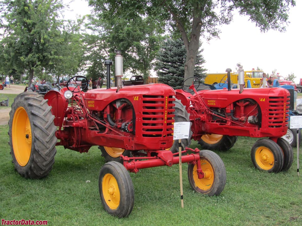Massey Harris 44 tractors with tricycle and wide front ends.
