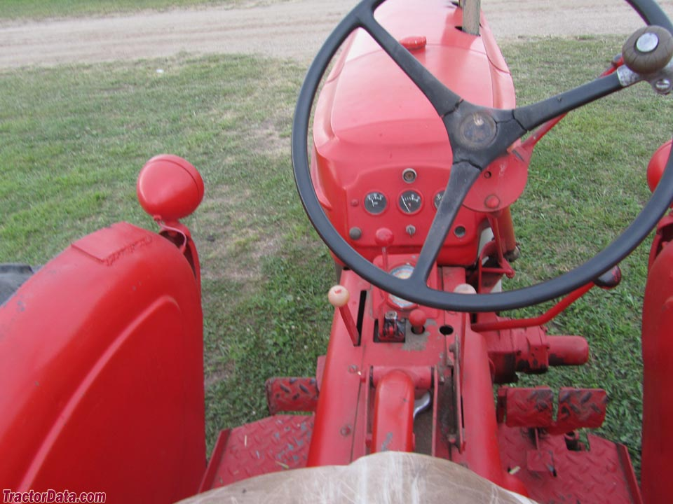 Massey-Harris 333 operator station and controls.