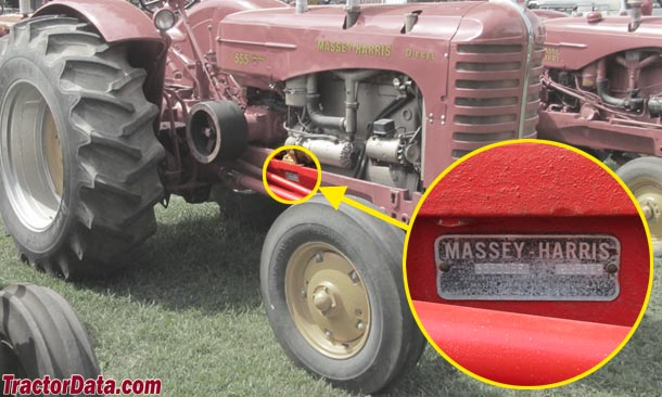 Massey-Harris 555 serial number location