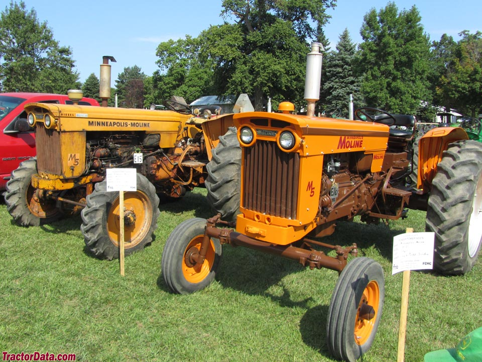 Two-wheel and four-wheel drive Minneapoils-Moline M-5 tractors.