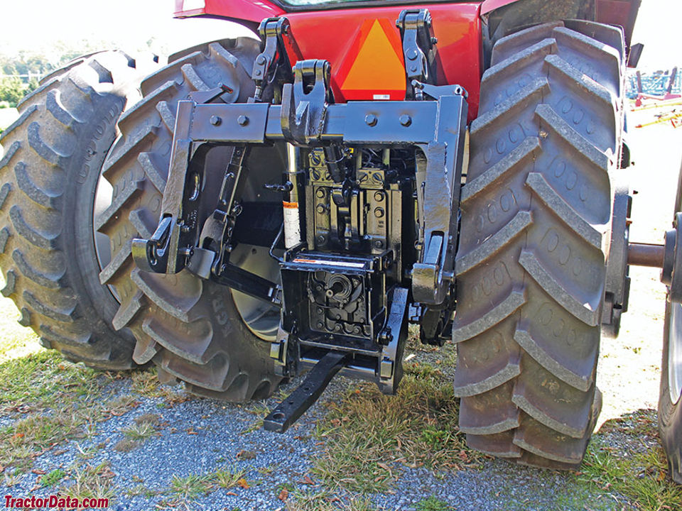 Rear of Case IH MX200 showing hitch and PTO.