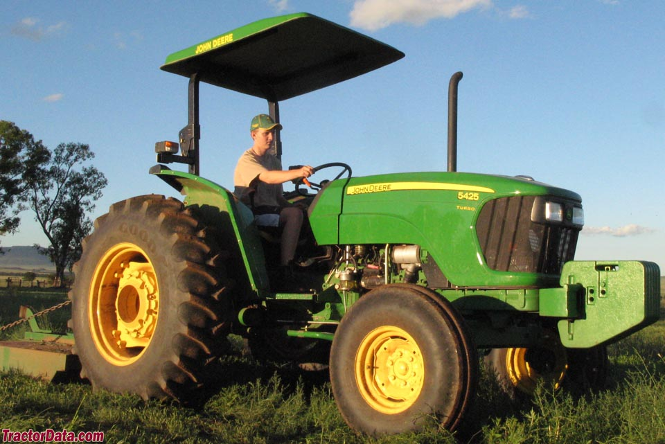 Two-wheel drive John Deere 5425 with ROPS and canopy.
