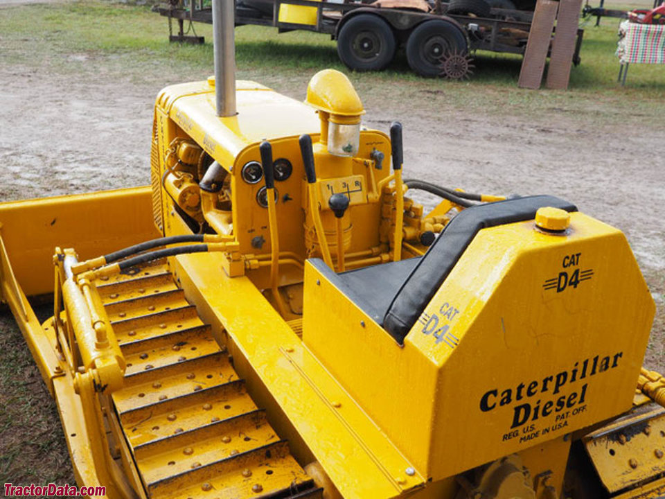 Caterpillar D-4 operator station and controls.