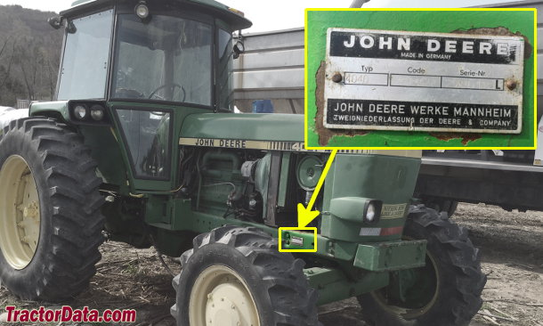John Deere 4040S serial number location