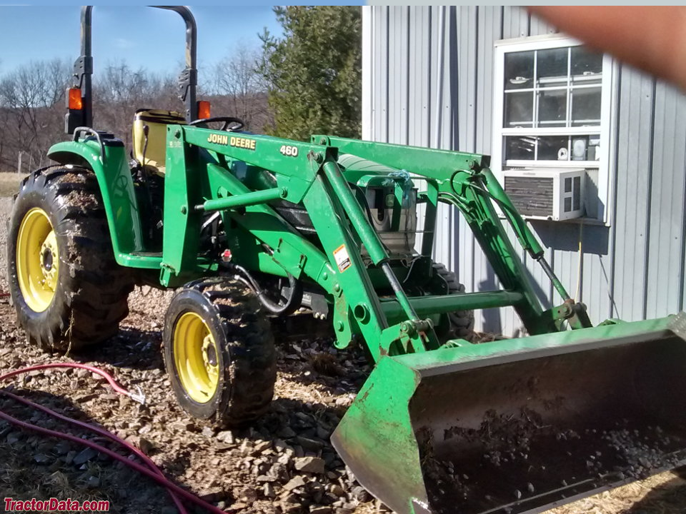 John Deere 4510 with 460 front-end loader, right side.