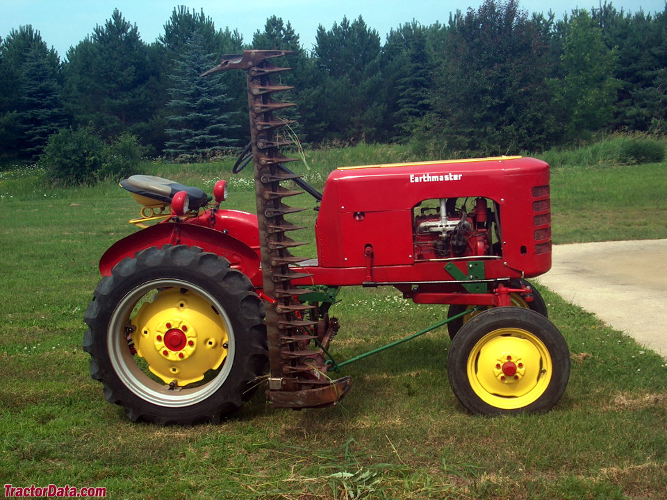 Earthmaster C tractor with sickle mower, right side.