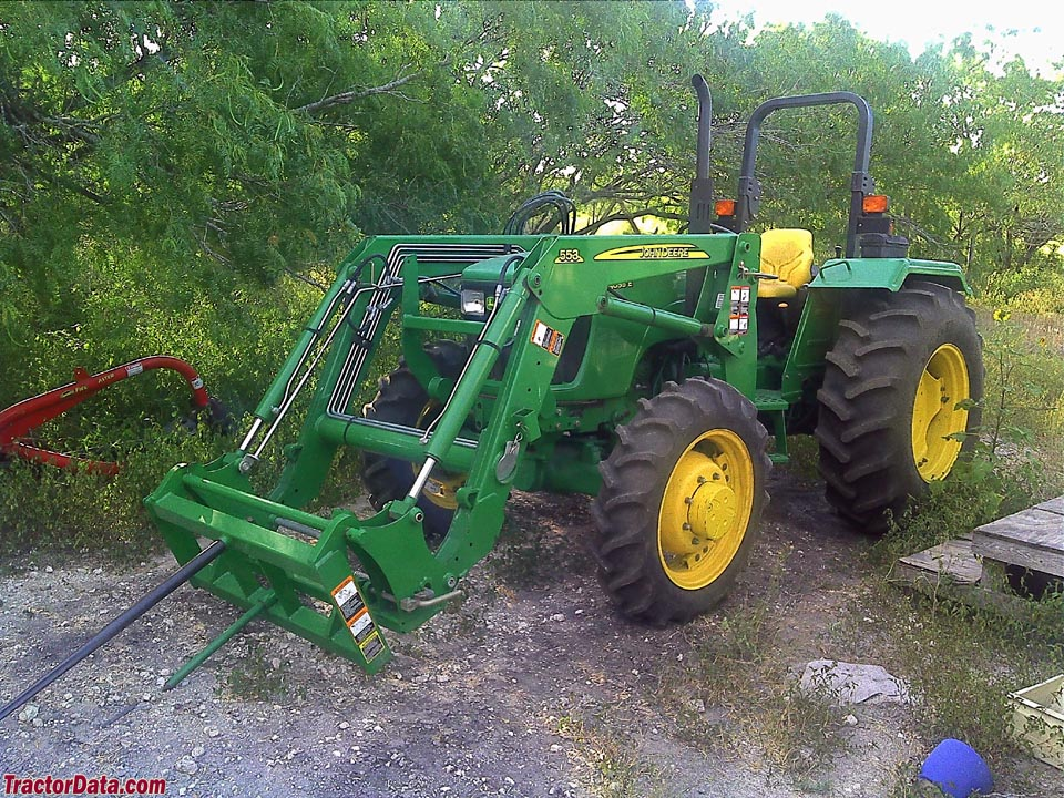 John Deere 5055E with front loader and bale spear