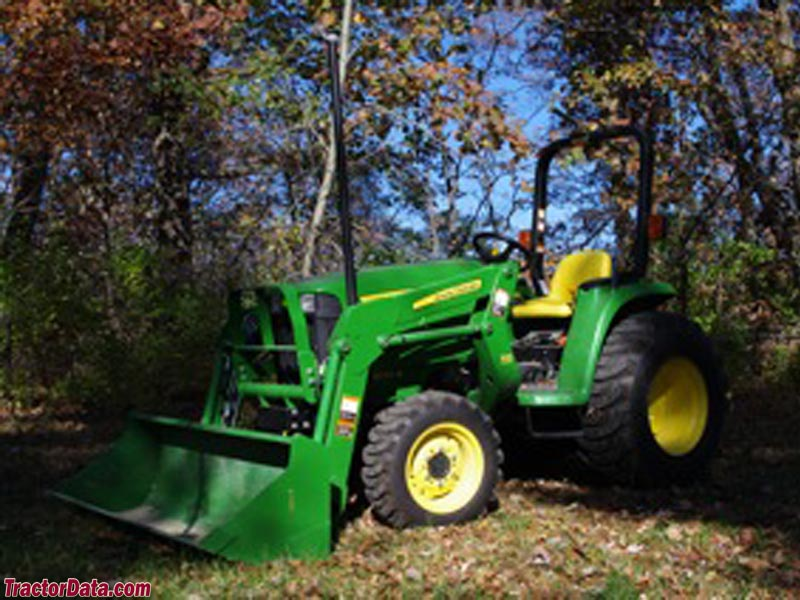 John Deere 3032E with front-end loader.