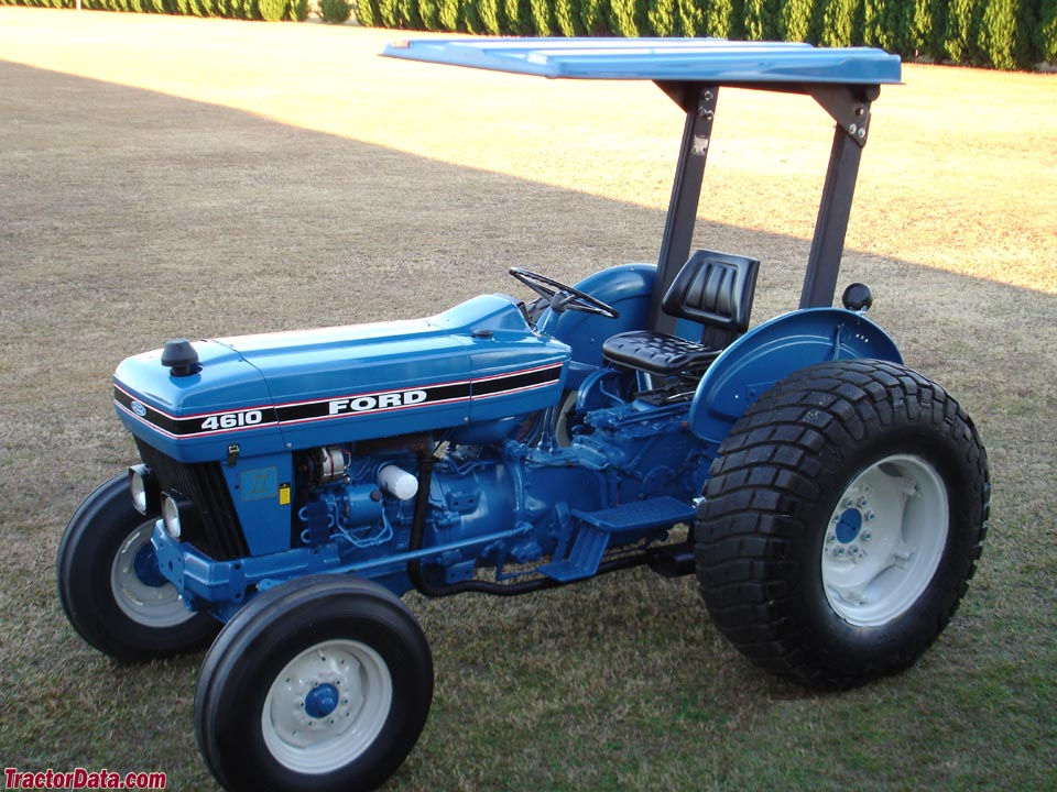 Two-wheel drive Ford 4610 II with canopy.